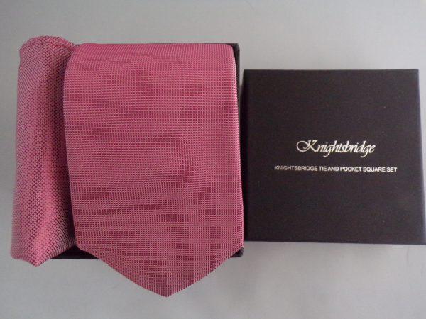 Plain Cerise Pink Wedding woven silk tie and pocket square set
