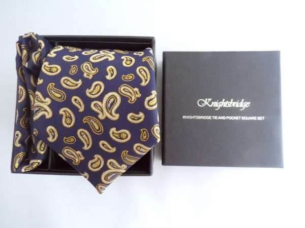 NAVY BLUE/GOLD PAISLEY TIE AND POCKET SQUARE