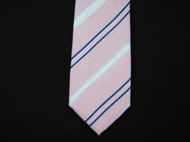 Pink/Blue/white Striped Skinny Silk Sorrento