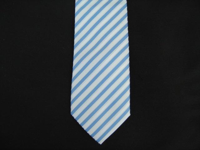 Blue/White Diagonal Stripes Poly Skinny Tie
