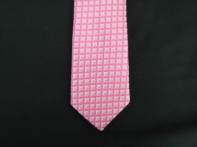 HOT PINK GEOMETRIC SQUARES POLY SKINNY TIE
