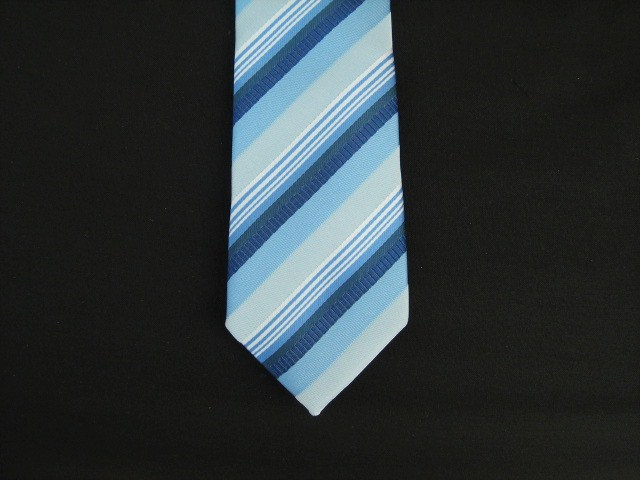 BLUE MULTI DIAGONAL STRIPES POLY SKINNY TIE
