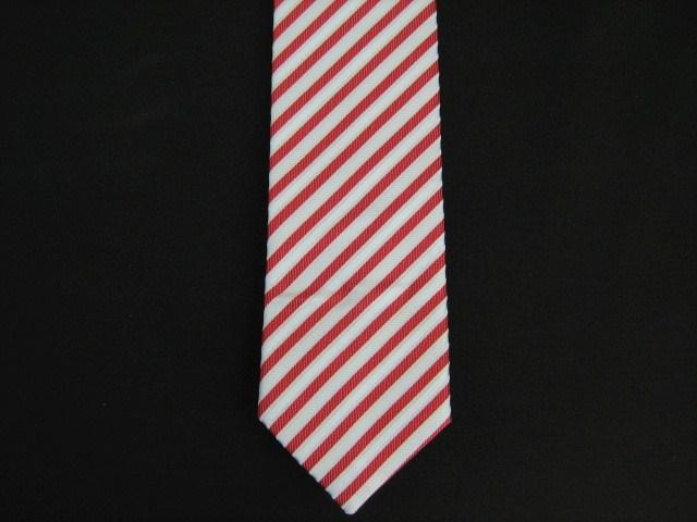 RED/WHITE DIAGONAL STRIPES POLY SKINNY TIE