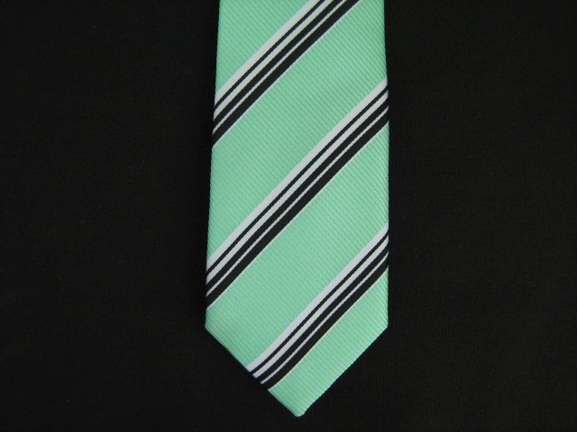AQUA/BLACK DIAGONAL STRIPES POLY SKINNY TIE