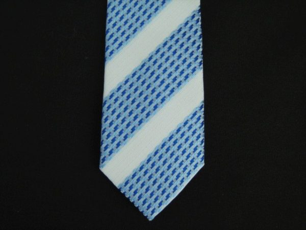 BLUE/WHITE ABSTRACT POLY SKINNY TIE-0