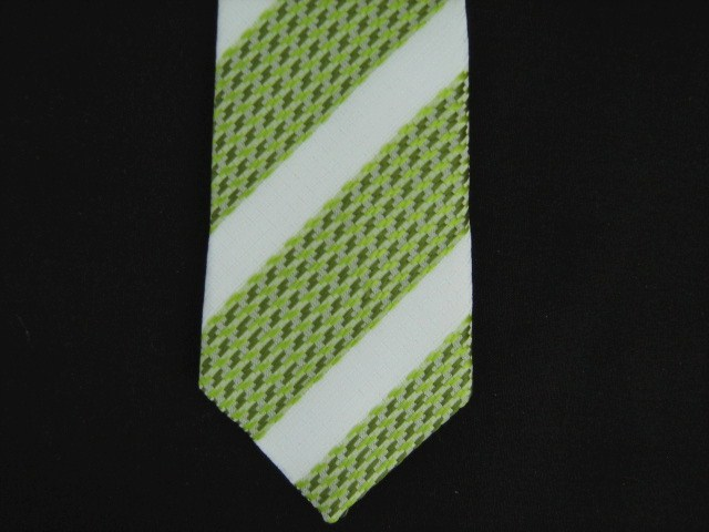 GREEN/WHITE ABSTRACT POLY SKINNY TIE