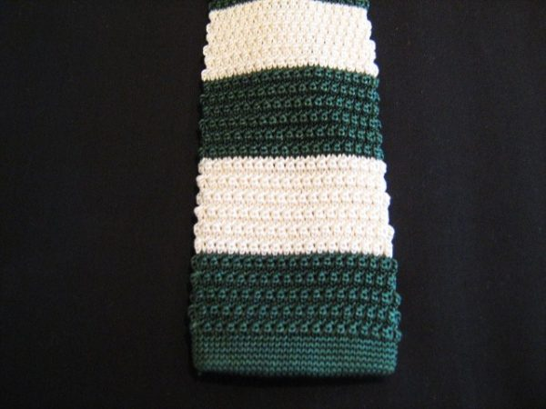 Green white striped knitted tie-0