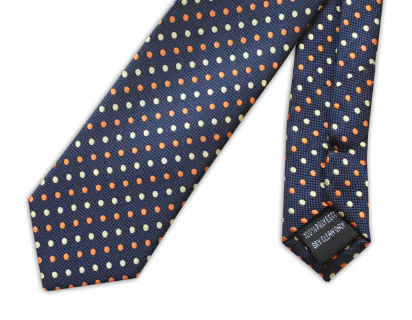 NAVY WITH YELLOW AND ORANGE SPOTS TIE-0