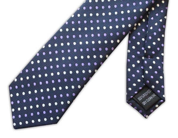 NAVY TIE WITH YELLOW AND PURPLE DOTS-0