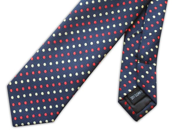 NAVY TIE WITH RED AND YELLOW DOTS-0