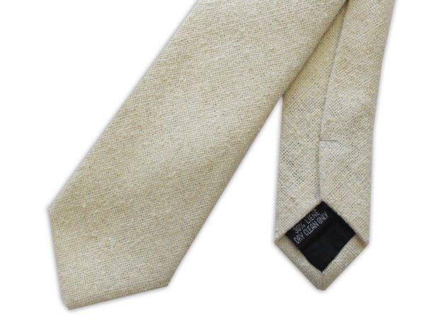Cream Skinny Silk Linen Tie-0
