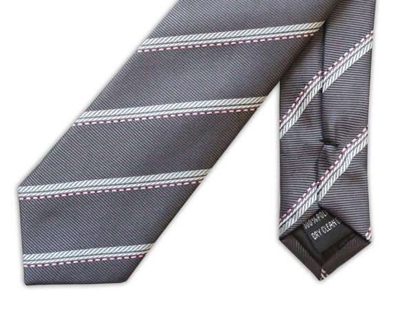GREY/WHITE STRIPE TIE