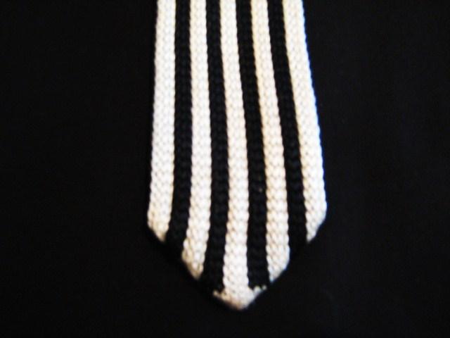 Black/white vertical striped tie