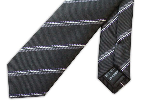 BLACK/GREY STRIPE TIE-0
