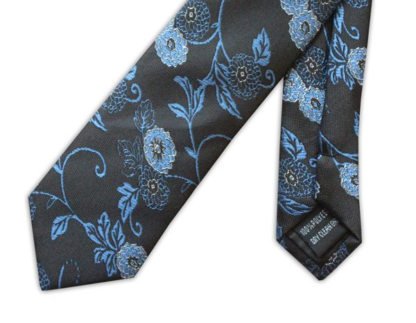 BLACK/BLUE ORIENTAL FLOWER PRINT TIE-0