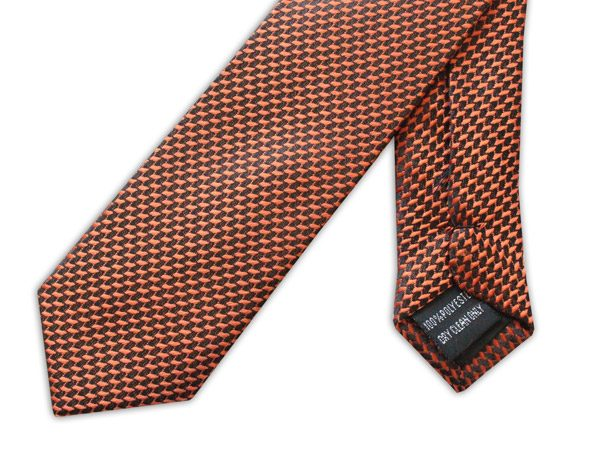 ORANGE GEOMETRIC DESIGN TIE-0