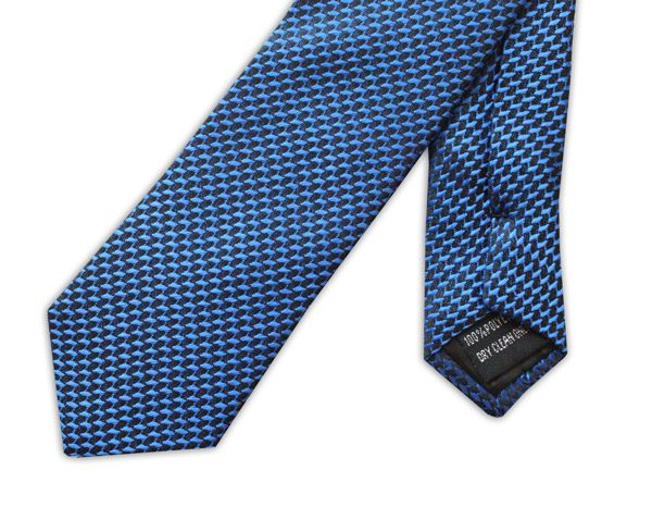 ROYAL BLUE GEOMETRIC DESIGN TIE-0