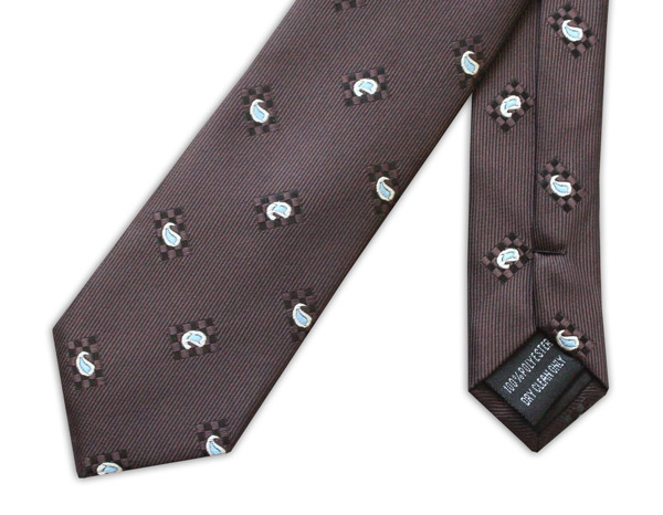 BROWN/SMALL PAISLEY TIE