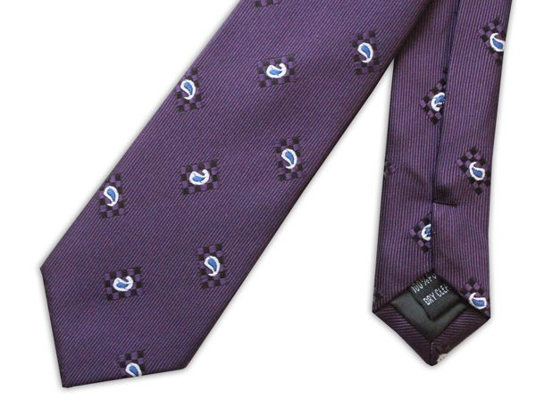 PURPLE/SMALL PAISLEY TIE-0