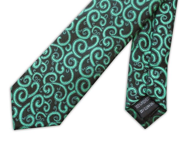 GREEN SWIRL PRINT TIE-0