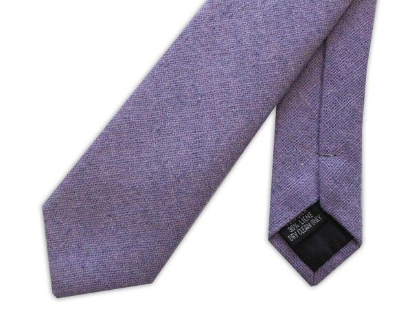 Lilac Skinny Silk Linen Tie-0