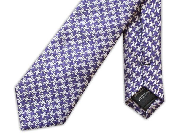 PURPLE/WHITE GEOMETRIC TIE-0