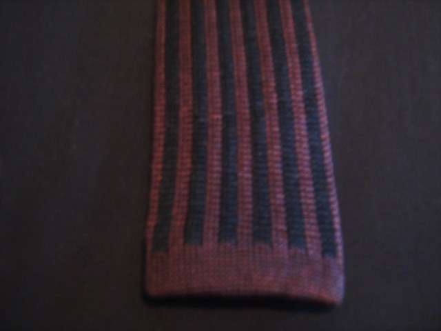Burgundy/blue striped Knitted Tie