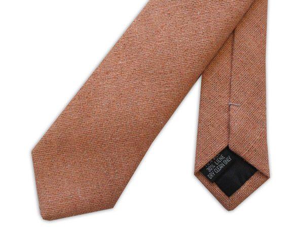 Peach Skinny Silk Linen Tie-0