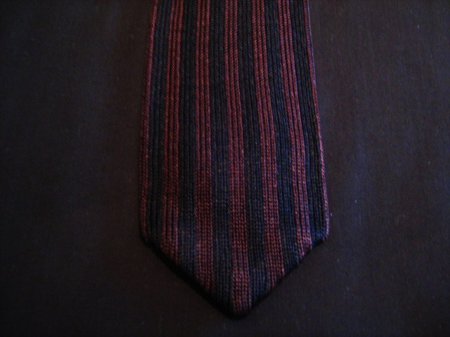 Burgundy/Navy striped Knitted Tie