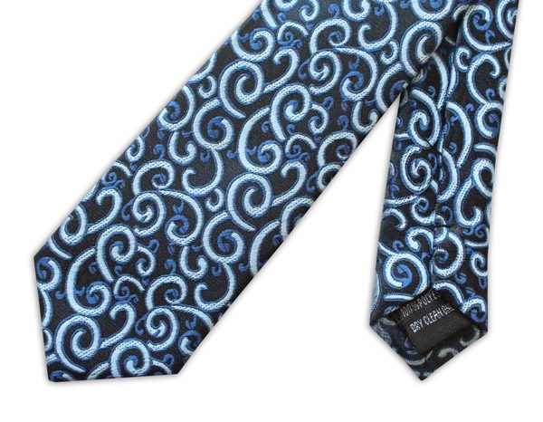 BLUE SWIRL PRINT TIE-0