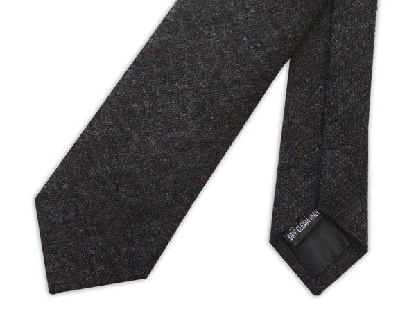 Black Skinny Silk Linen Tie-0