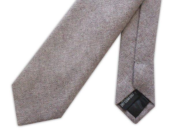 Grey Skinny Silk Linen Tie-0