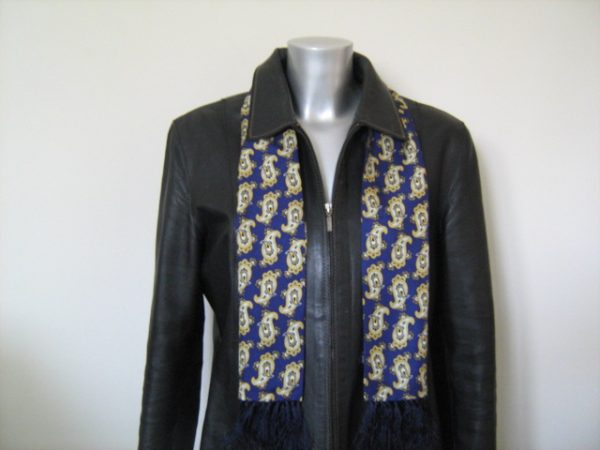 Knightsbridge Retro French Navy Paisley Silk Aviator Scarf-0