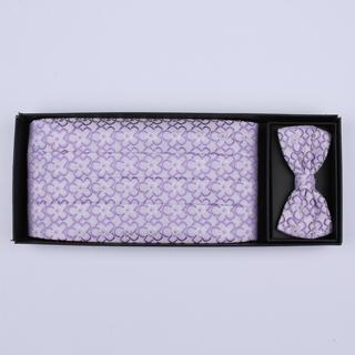 Lilac/purple Patterned Cummerbund / Bow Tie Set-0