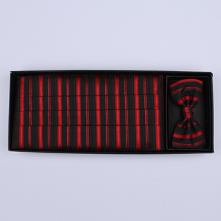Red/black Striped Cummerbund / Bow Tie Set