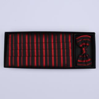 Red/black Striped Cummerbund / Bow Tie Set-0