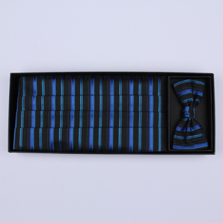Black/blue Striped Cummerbund / Bow Tie Set-0