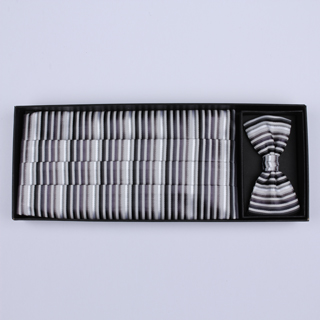 Black/grey/white Striped Cummerbund / Bow Tie Set-0