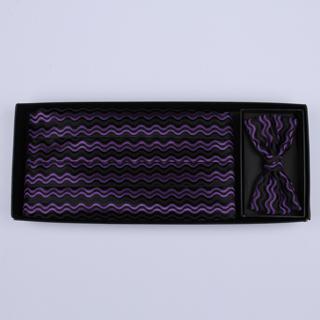 Black/purple 'Wave' Cummerbund / Bow Tie Set-0