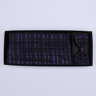 Black/purple Striped Cummerbund / Bow Tie Set-0