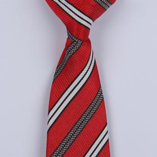 Red/White/Black Striped Clip-on Tie-0