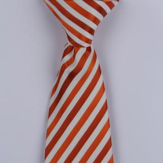 Orange/White Striped Clip-on Tie-0