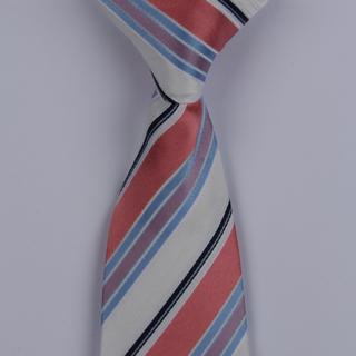 White/Blue/Multi Striped Clip-on Tie-0