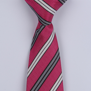 Hot Pink/White/Black Striped Clip-on Tie-0