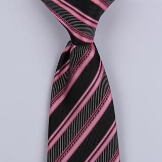 Black/Pink Diagonal Striped Clip-on Tie-0