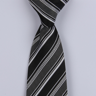 Black/Grey Diagonal Striped Clip-on Tie-0