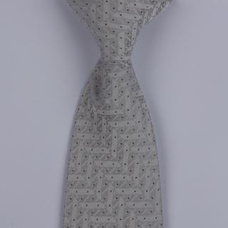 White/Silver Stairs Design Clip-on Tie-0