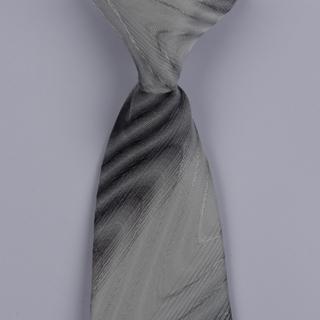 White/Grey Striped Clip-on Tie-0