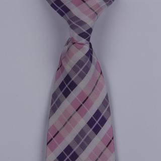 White/Pink/Purple Tartan Clip-on Tie-0