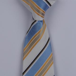 White/Black/Multi Diagonal Striped Clip-on Tie-0